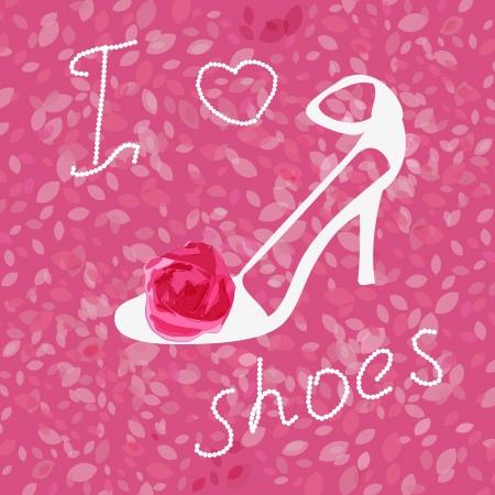 概念の背景に靴、バラ  イラスト・ベクター素材