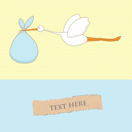 stork: Baby arrival card with stork that brings a cute boy