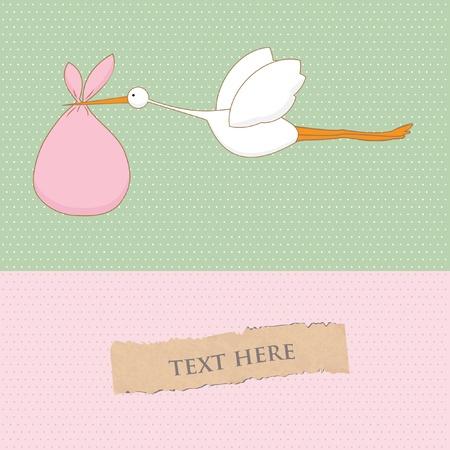 cicogna: Baby card arrivo con cicogna che porta una ragazza carina Vettoriali