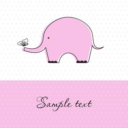 Baby girl shower card with cute elephant and butterfly Stock Photo - 10324980