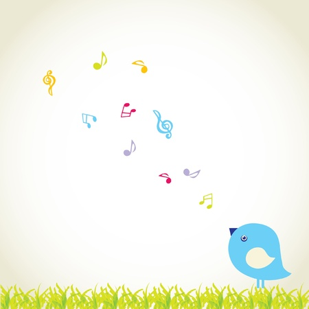 Cute bird sing a love song  photo