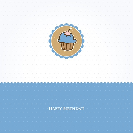 Birthday card with cute cupcake Stock Photo - 10324976