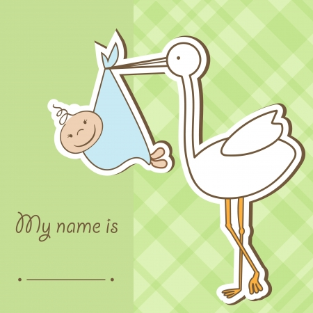 Baby arrival card with stork that brings a cute boy  photo