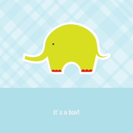 Baby boy shower card with cute elephant Stock Photo - 10324973
