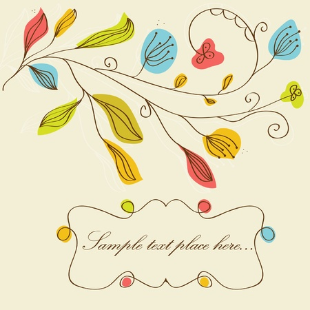 Vintage floral background with multicolored flowers  photo
