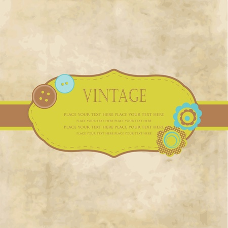 Vintage frame with buttons and flowers for your design photo