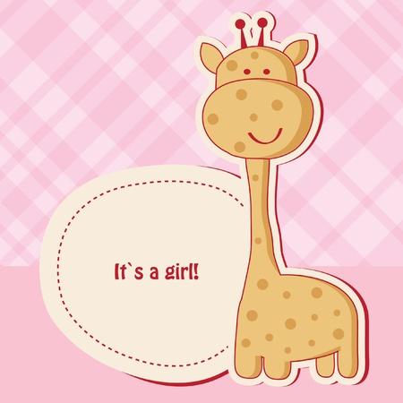 Baby girl shower card with cute giraffe