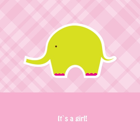 Baby girl shower card with cute elephant  photo