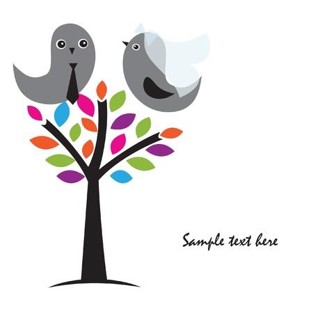 Einladung zur Hochzeit mit zwei hübsch Vögel in Braut und Bräutigam Kostüme