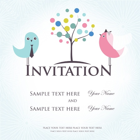 Wedding invitation with two cute birds in bride and groom costumes