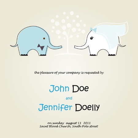 Cute wedding invitation with elephants couple photo