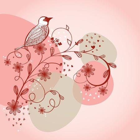 Bird sitting on the flower branch, hand drawn. Vector
