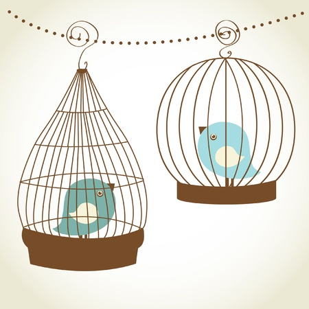 birdcage: Vintage christmas card with two cute birds in the cages