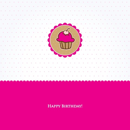 Birthday card with cute cupcake Vector
