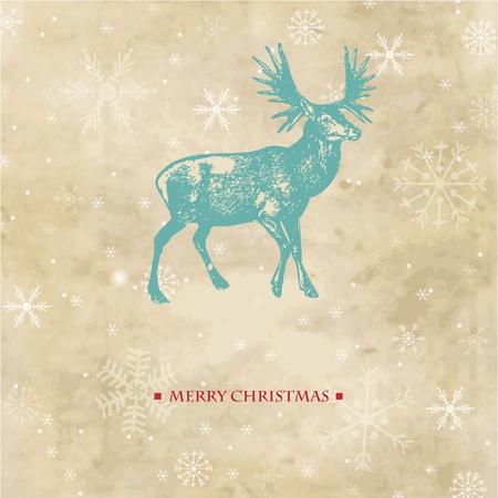 순록과 눈송이 빈티지 크리스마스 카드