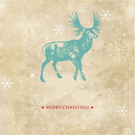 Vintage christmas card with reindeer and snowflakes Imagens - 10513392