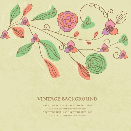 Vintage floral background with hand drawn flowers Vector