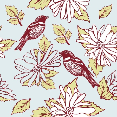 seamlessly: Vintage seamless background with birds and flowers