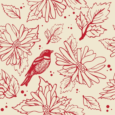 Vintage seamless background with birds and flowers Vector