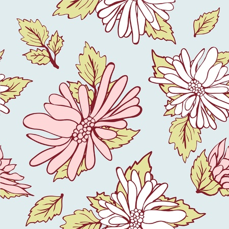 Vintage seamless background with flowers Vector