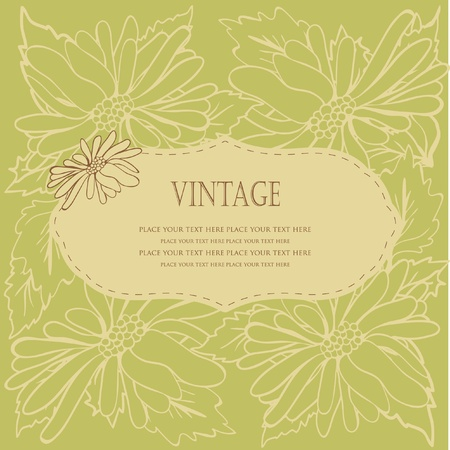 Vintage floral frame with pastel flowers  Vector