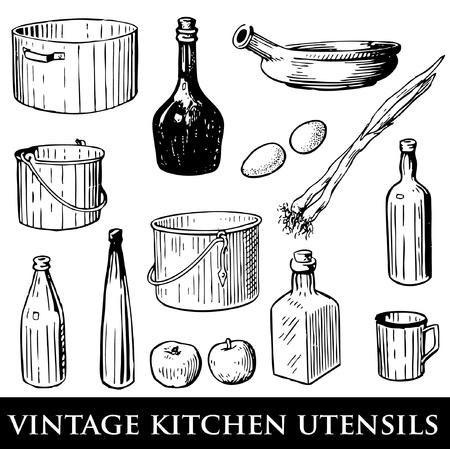wok: set of vintage kitchen utensils  Illustration