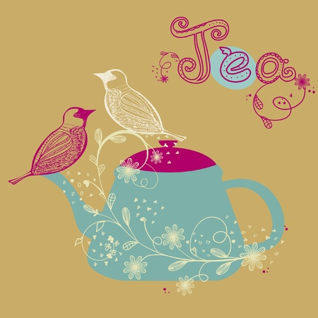 Birds couple on the flower branch, hand drawn. Vector