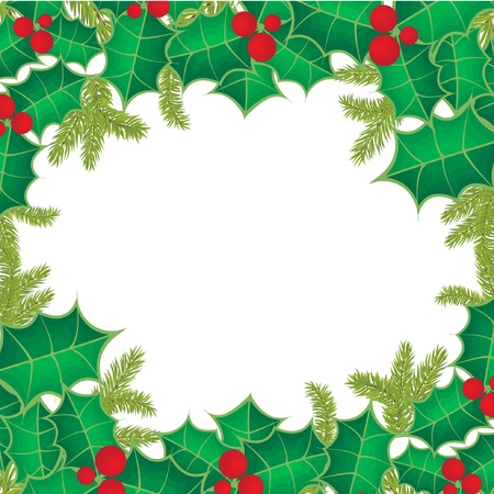 Christmas frame with holly berry leaves on red background  Illustration