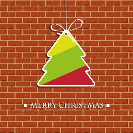 Christmas tree on the brick wall Stock Photo - 11033929