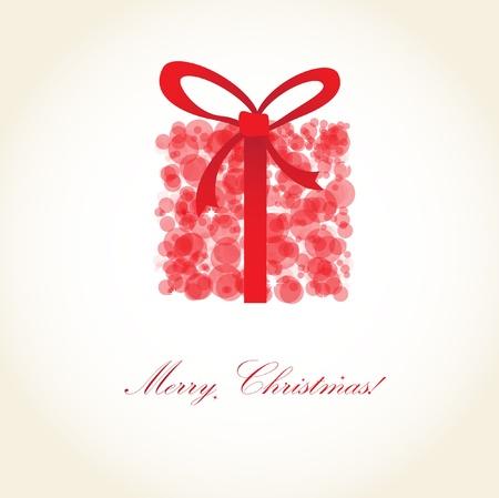 雪玉から赤いプレゼント ボックス付きのクリスマス カードの挨拶