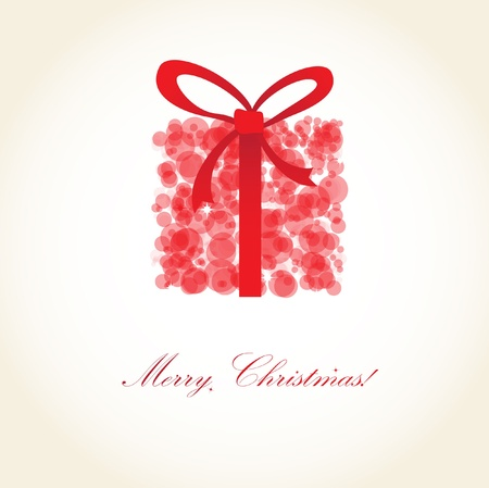 Greeting christmas card with red present box from snowballs Stock Photo
