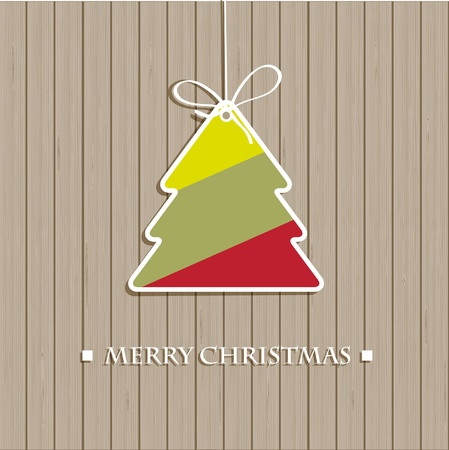 Christmas tree on the wooden wall Stock Photo - 11033932