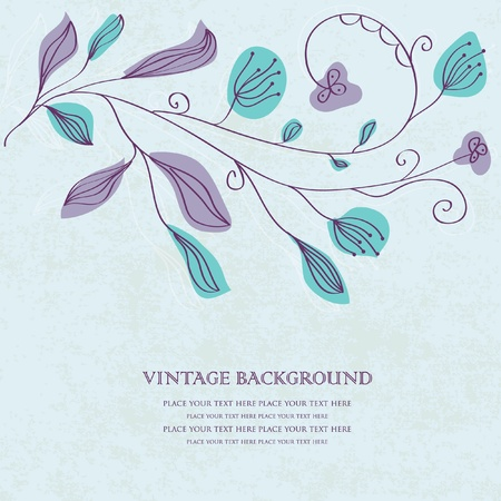 Vintage vector invitation card with floral pattern  photo