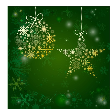 Vintage christmas card with bow and snowflakes Vector