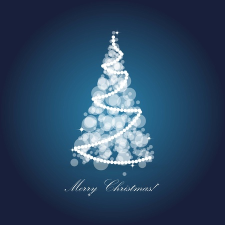 Christmas card with holiday tree on dark blue background  Vector