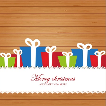 Christmas invitation card on wood background Imagens - 11145409