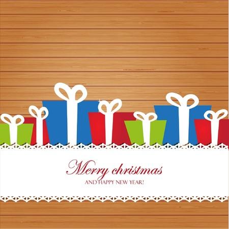 Christmas invitation card on wood background Vector