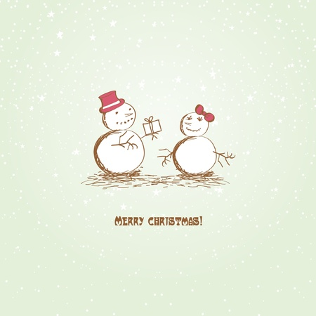 Happy Christmas snowmеns Vector