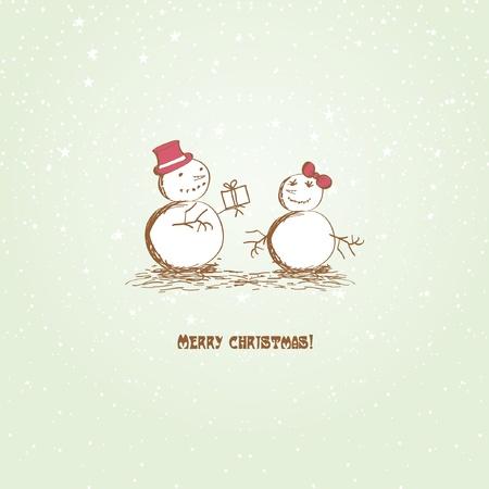 Happy Christmas snowmеns Stock Vector - 11145423