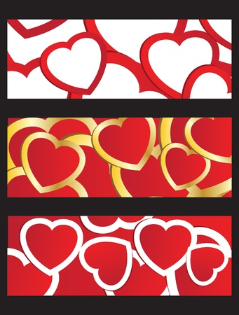Vector illustration of holiday background with valentines red and gold hearts illustration