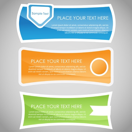 Set of colorful glossy banners  일러스트