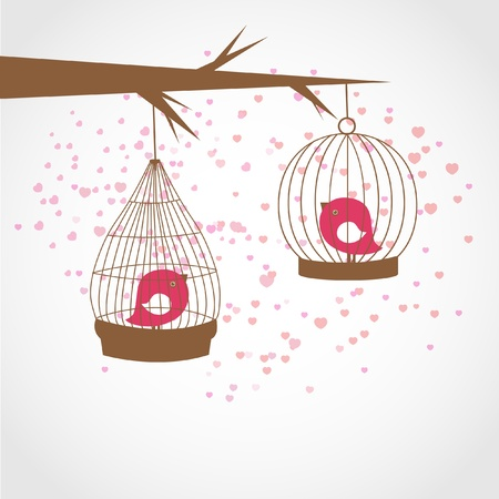 Easter card with cute birds in the cages and patterned easter eggs Stock Vector - 12747616