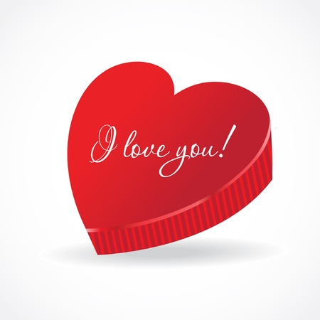 Gift for Valentine Day  Closed box with a heart-shaped form Vector
