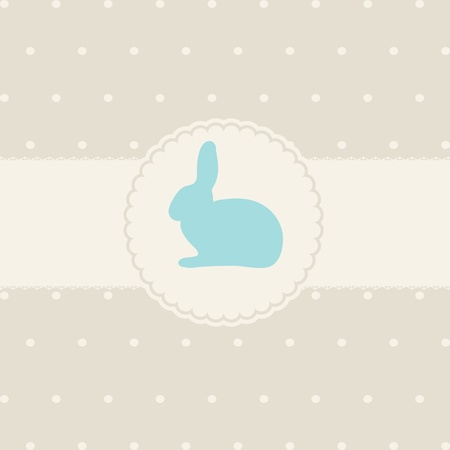 cartoon rabbit: Cute easter card with paper bunny Illustration