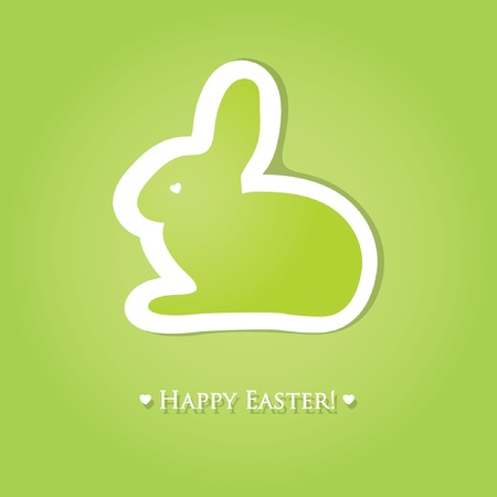 Cute easter card with paper bunny Vector