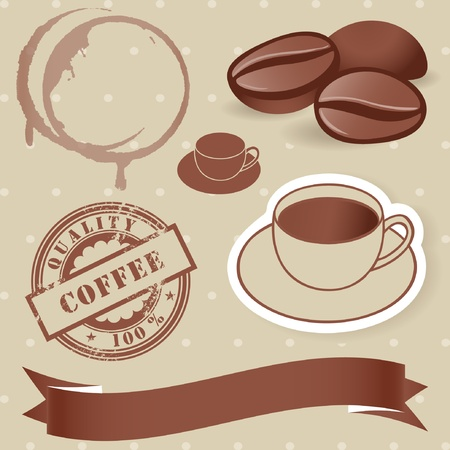 Vector set of vintage coffee elements  bean, rubber stamp, cup, banner  Vector