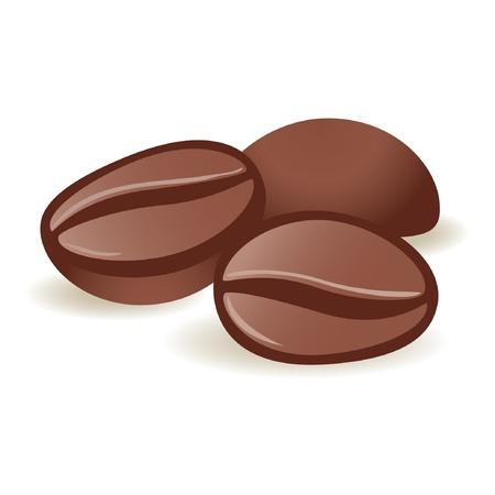 coffee beans: Drie geïsoleerde koffie bonen op witte achtergrond