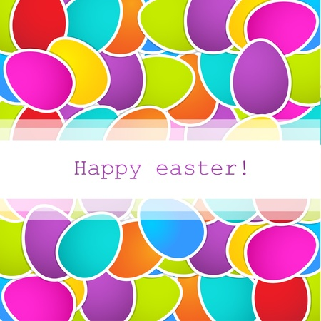 Easter background with multicolored eggs and place for your text
