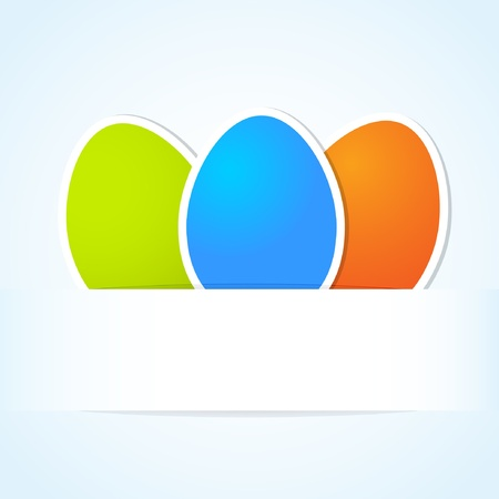 Easter banner with three multicolored eggs Vector