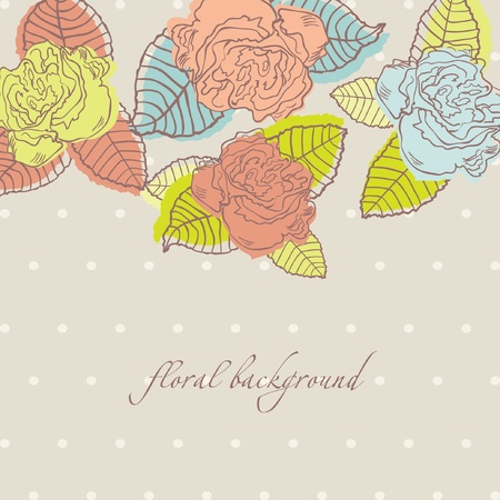 Vintage card with hand drawn roses and leaves on dark polka dot background  Vector